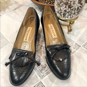 Cole Haan gorgeous black leather wing tip work